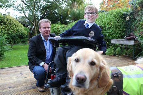 Tom, Eoghan and Duke the dog.
