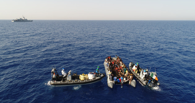 The Irish navy rescued 149 migrants on a rubber dinghy in the Mediterranean this morning