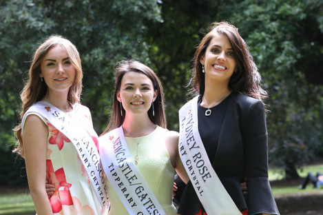 Pictured to the far left of the photo is San Francisco Rose Amanda Donohoe, with Newcastle Gateshead Rose Laoise O'Shaughnessy and Sydney Rose Aisling Walsh.
