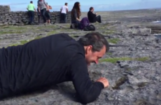 An American tourist tried to conquer his fear of heights by peeking over cliffs on the Aran Islands