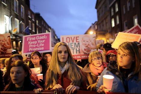 Anti-abortion protestors outside Leinster House, Dublin.