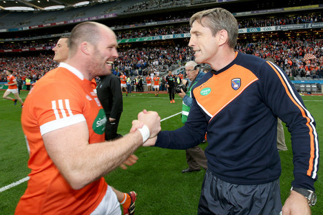 McKeever with McGeeney after Armagh's Qualifier victory over Kildare.