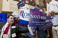 Surge in support for Santorum puts him up front with Romney