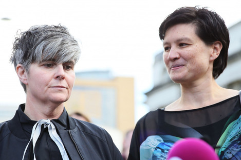 Civil partners Grainne Close and Shannon Sickles outside the High Court in Belfast.