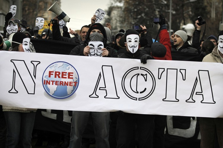Anti-ACTA protesters in Bulgaria earlier this week.