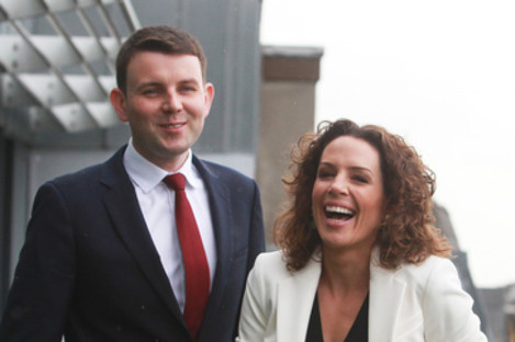 Chris Donoghue and Sarah McInerney in the roof garden at Communicorp HQ last year.