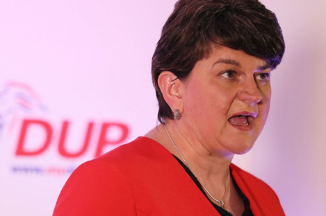 DUP leader Arlene Foster pictured in Belfast tonight