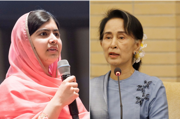 Malala (left) has been critical of her fellow peace prize winner Aung San Suu Kyi over the violence in Burma