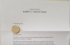 A father prepared a very official looking letter from the tooth fairy to warn his son to take care of his teeth