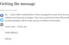 An 80-year-old man's first ever text inspired this gas letter to the Irish Times