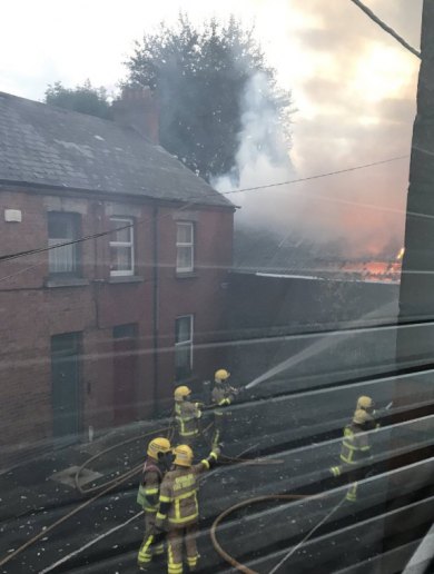 Five units of Dublin Fire Brigade extinguish blaze at Harold's Cross warehouse