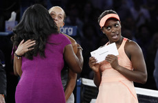 The photos of US Open winner Sloane Stephens reacting to receiving her cash prize are iconic