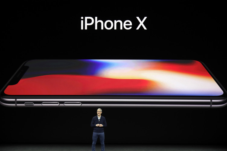 Apple CEO Tim Cook, announces the new iPhone X at the Steve Jobs Theater on the new Apple campus in California.