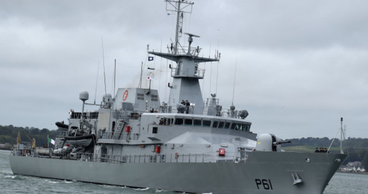 Controversy as Irish naval ship attends world's largest arms