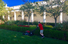 Here's why there was a young boy mowing the lawn at the White House today