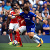 David Luiz sent off, as disciplined Arsenal hold Chelsea