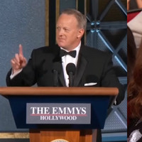 Sean Spicer appeared on stage on Melissa McCarthy's famous podium at last night's Emmys