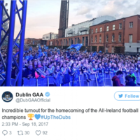 Huge crowds showed up at Smithfield for the Dublin team's homecoming