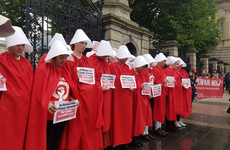 A #RepealThe8th protest inspired by The Handmaid's Tale just took place outside the Dáil