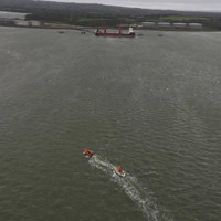 Gale force winds broke a yacht free and pushed it into a busy Shannon estuary shipping lane