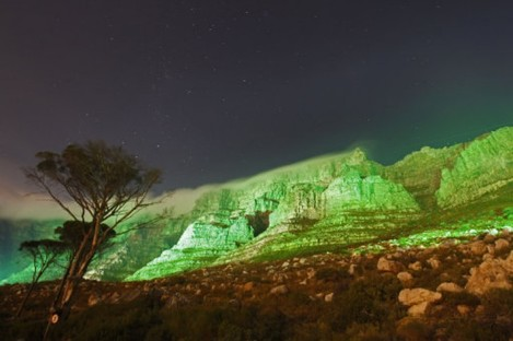 Table Mountain turned green on St Patrick's Day 2011 in South Africa.