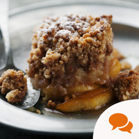 Autumn's here. Cosy up with a steaming apple and blackberry crumble