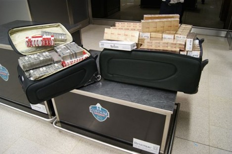 The cigarettes seized at Dublin Airport today