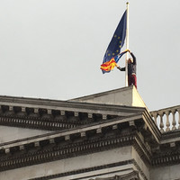 Sinn Féin councillor climbs City Hall with Catalonia flag at Dublin demo