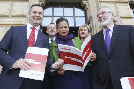 Sinn Fein finance spokesperson Pearse Doherty with poarty president Gerry Adams and deputy leader Mary Lou McDonald during the launch of Sinn Fein's alternative budget proposals.
