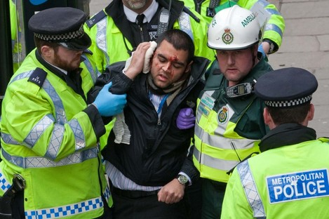 Today's mock attack on an underground station in London.