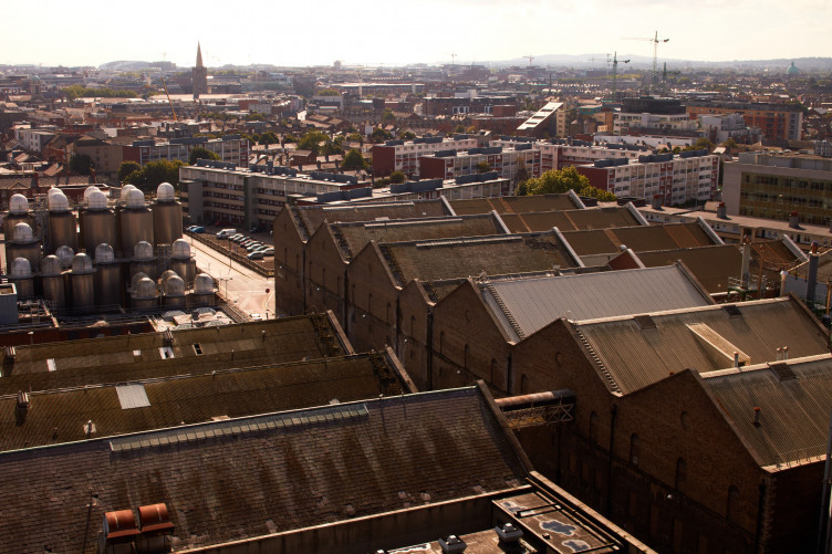 St James's Gate. View across vathouse rooftops, Market Street.