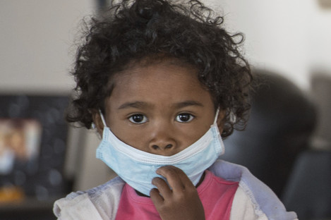 A child wears a face mask at a school in Antananarivo, Madagascar