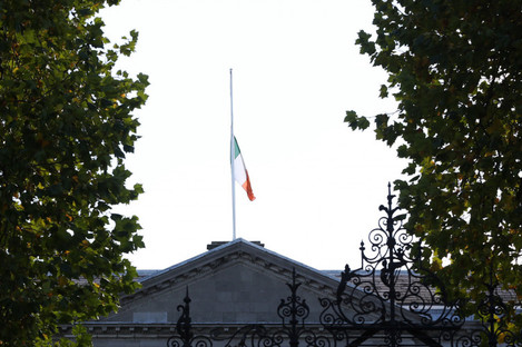 Tricolour lowered to half mast at Leinster House today.