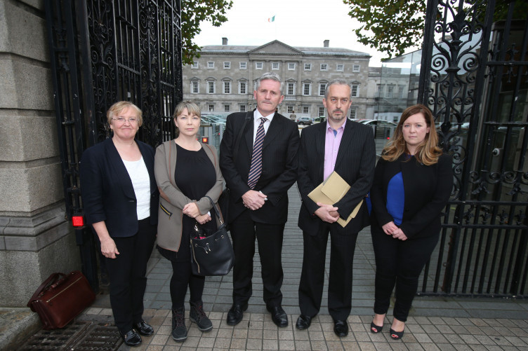 Left-right) Helen Grogan, Hazel Melbourne, Padraig kissane, Thomas Ryan and Niamh Byrne arrive at Leinster House in Dublin, to give evidence during the Oireachtas Finance Committee.