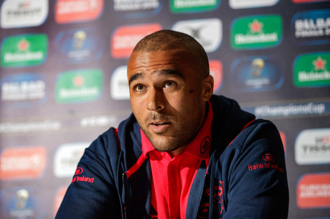 Simon Zebo pictured at yesterday's Munster Rugby press conference.
