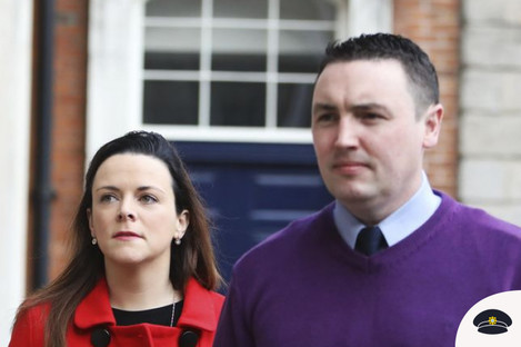 Garda Keith Harrison and his partner Marisa Simms arriving at the Disclosures Tribunal in Dublin Castle today
