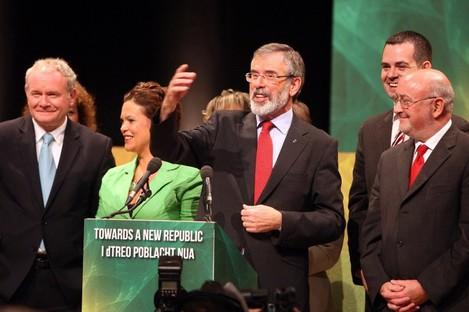 Sinn Féin leader Gerry Adams with parliamentary party colleagues and Martin McGuinnes in Belfast last September.
