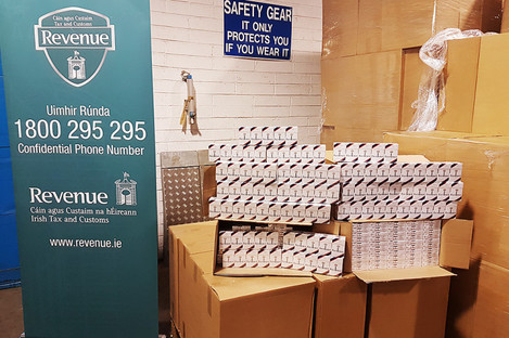 The seized cigarettes at Dublin Port.