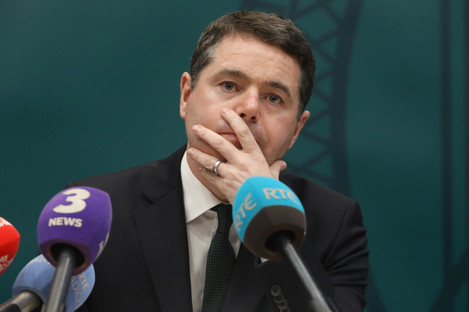 Finance Minister Paschal Donohoe addressing the media on the tracker mortgage scandal this afternoon.
