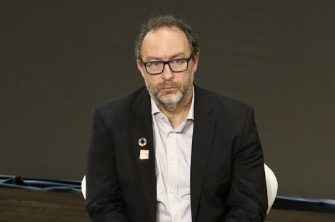 Wikipedia co-founder Jimmy Wales speaks during the Bill and Melinda Gates foundation Goalkeepers 2017.