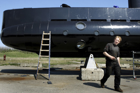 File photo of Peter Madsen with the submarine in Copenhagen.