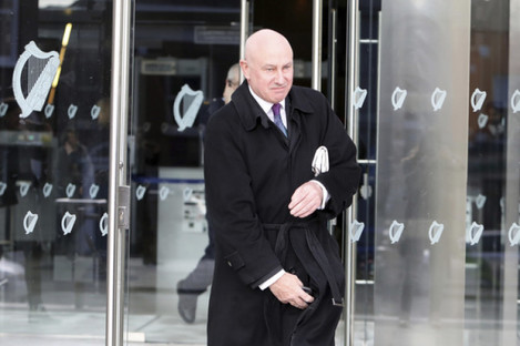 Former official of Anglo Irish Bank Tiarnan O'Mahoney leaving the Central Criminal Courts after a jury was directed this morning to find him not guilty of the charges against him