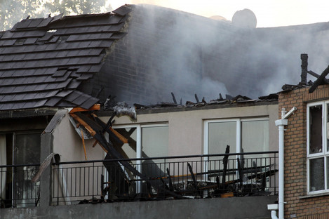 A fire at a block of apartments on Snugborough Road earlier this year.