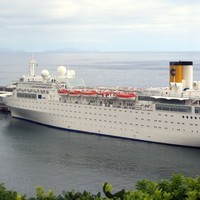 Costa cruise ship adrift off the Seychelles in the Indian Ocean