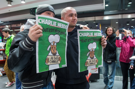 Copies of the Charlie Hebdo edition following the 2015 shooting which killed 12.