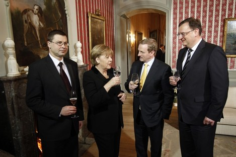 Taoiseach Enda Kenny, centre, with German Chancellor Angela Merkel, and Latvian Prime Minister Valdis Dombrovskis (left) and PM of the Czech Republic Petr Necas (right) meeting in Berlin last Thursday.