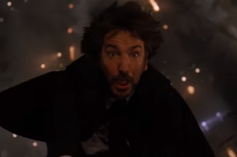 Spoiler Alert: Alan Rickman's character doesn't survive this fall.