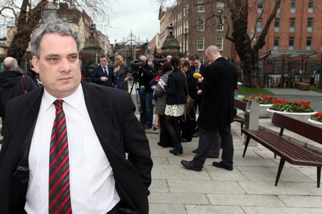 Aengus Ó Snodaigh after speaking to the media about 'Inkgate' earlier today.