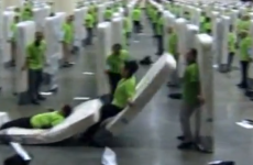 WATCH: 850 people set a new world record as 'human mattresses'