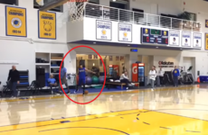 Steph Curry is so good, he doesn't even need his hands to make three-pointers